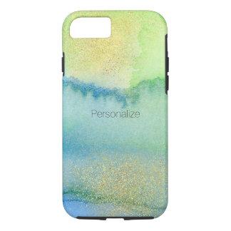 Pfau-Blau-Minzen-GoldWatercolor abstrakt iPhone 8/7 Hülle