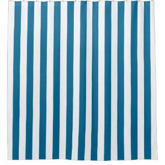 Pfau-Blau-weißer vertikaler Streifen NL #0 Duschvorhang