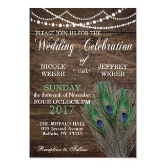 Pfau Boho Land-hölzerne Hochzeits-Einladung 12,7 X 17,8 Cm Einladungskarte