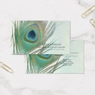 Pfau-Feder Boho Aquarell verweisen einen Freund Visitenkarte
