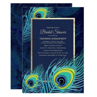 Pfau-Feder-Entwurfs-Brautparty-Einladungen Karte