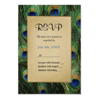 Pfau-Feder-Grün-Hochzeit - UAWG 8,9 X 12,7 Cm Einladungskarte