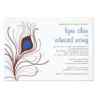 Pfau-Feder-Hochzeits-Einladung - Kobaltblau 12,7 X 17,8 Cm Einladungskarte