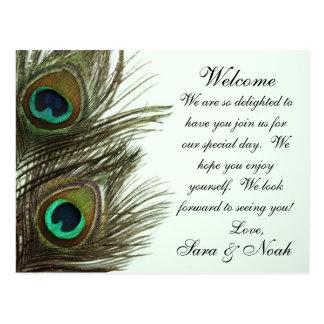 Pfau-Feder-Hochzeits-Willkommens-Taschen-Anmerkung Postkarte