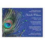 Pfau-Feder Jewels blaues Brautparty Individuelle Ankündigskarten