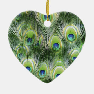 Pfau-Feder-Muster Keramik Herz-Ornament