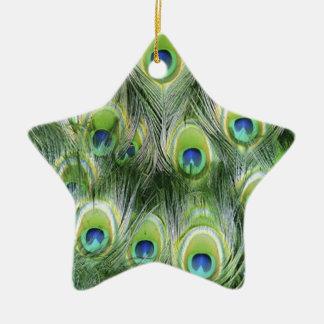 Pfau-Feder-Muster Keramik Stern-Ornament