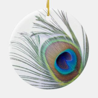 Pfau-Feder Rundes Keramik Ornament
