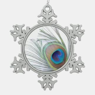 Pfau-Feder Schneeflocken Zinn-Ornament