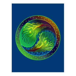 Pfau-Feder Yin Yang 4 Postkarte