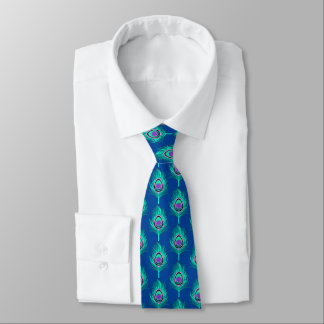 Pfau-Federn, Aqua auf tiefem Kobalt-Blau Individuelle Krawatte