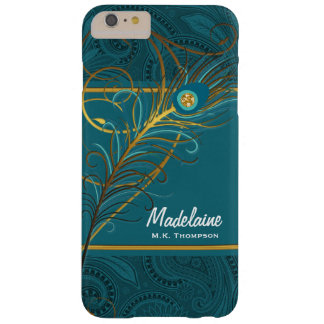 Pfau-Federn auf aquamarinem Paisley Barely There iPhone 6 Plus Hülle