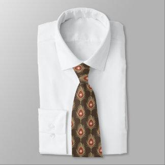 Pfau-Federn, beige auf dunklem schokoladenbraunem Krawatten