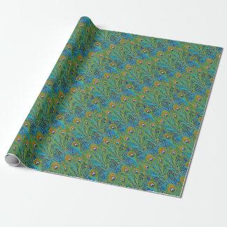 Pfau-Federn in den hellen Farben Geschenkpapier