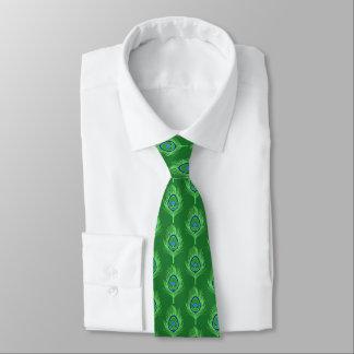 Pfau-Federn, Limones Grün auf Smaragdgrün Krawatte