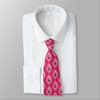 Pfau-Federn, Pastellrosa auf pinkfarbenem Rosa Bedruckte Krawatte