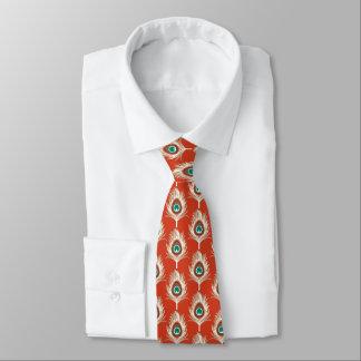 Pfau-Federn, weiß auf Mandarine Krawatte