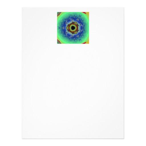 Pfau-Fraktalmandala-blaues Grün Personalisierte Flyer