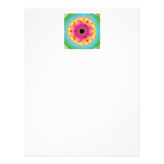 Pfau-Fraktalmandala-Rosa-Gelb Flyerbedruckung