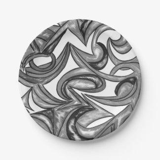 Pfau-Gefieder - abstrakte Kunst handgemalt Pappteller
