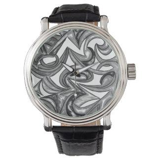 Pfau-Gefieder - abstrakte Kunst handgemalt Uhr