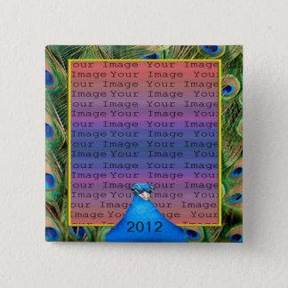 Pfau-Hochzeits-Foto-Knopf Quadratischer Button 5,1 Cm