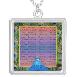 Pfau-Hochzeits-Foto-Silber-Halskette Halskette Mit Quadratischem Anhänger