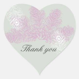 Pfau-Hochzeits-lila weiße Feder danken Ihnen Herz-Aufkleber