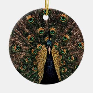 Pfau in etwas überwundenen Farben Keramik Ornament