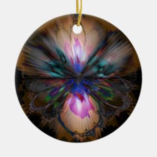 Pfau-Iris Keramik Ornament