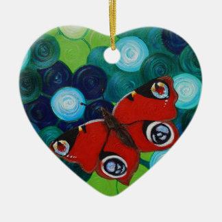 Pfau-Schmetterling Keramik Ornament