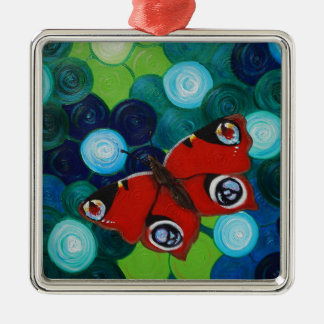 Pfau-Schmetterling Silbernes Ornament