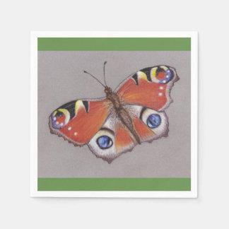 Pfau-Schmetterlings-Cocktail-Servietten/grüner Papierserviette