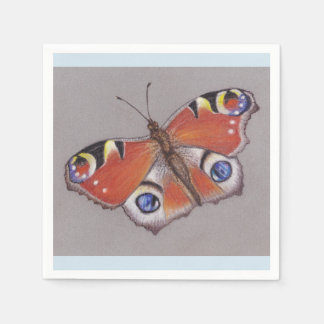 Pfau-Schmetterlings-Cocktail-Servietten/hellblauer Serviette