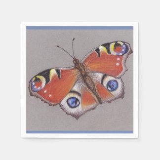 Pfau-Schmetterlings-Cocktail-Servietten Papierserviette