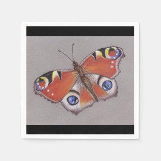 Pfau-Schmetterlings-Cocktail-Servietten/schwarzer Serviette