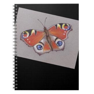 Pfau-Schmetterlings-Notizbuch Spiral Notizblock