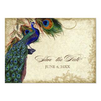 Pfau-u. Feder-Save the Date Tee befleckt 12,7 X 17,8 Cm Einladungskarte