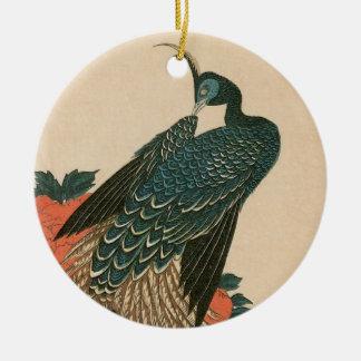 Pfau und Pfingstrosen durch Hiroshige, japanische Keramik Ornament