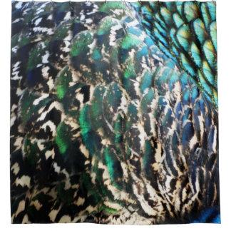 Pfau versieht glänzende Farben mit Federn Duschvorhang