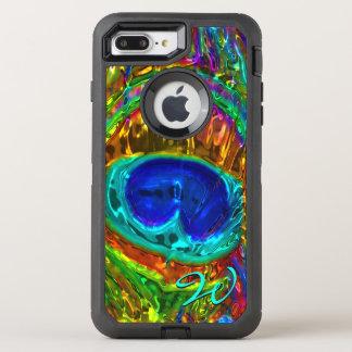 Pfau versieht Glaskunst 1 mit Federn OtterBox Defender iPhone 8 Plus/7 Plus Hülle
