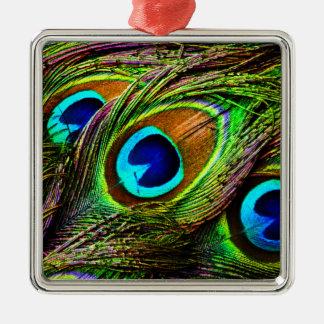Pfau versieht Invasion mit Federn - Silbernes Ornament