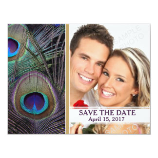 Pfau versieht lila Wedding Save the Date mit Karte