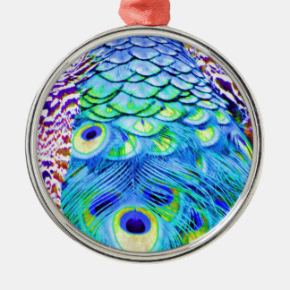 Pfau versieht multi Farben mit Federn Silbernes Ornament