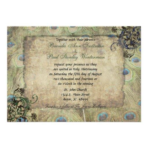 Pfau-Vintage Hochzeits-Einladung