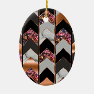 Pfau Zickzack Keramik Ornament