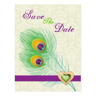 Pfaufeder-Juwelherz, das Save the Date wedding ist Postkarte