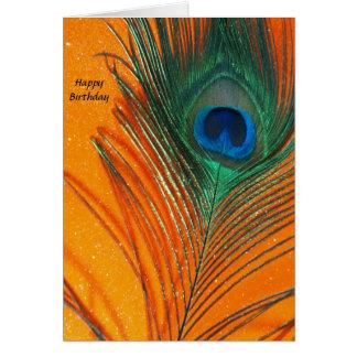 Pfaufeder mit orange Glitter-noch Leben Karte