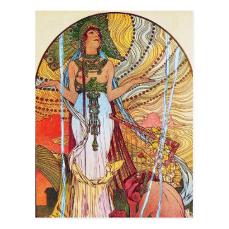 Pfaukunst Alphonse Mucha Postkarte
