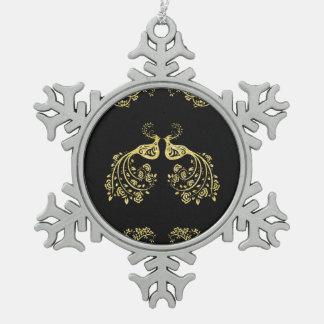 Pfaus in der Liebe Schneeflocken Zinn-Ornament